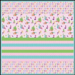 """Mermaids -Strip Quilt /58""""x58"""""""