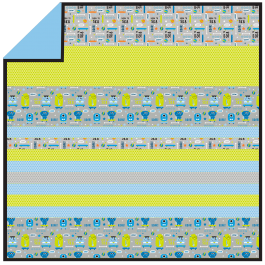 """Monsters Gray-MINKY Strip Quilt /58x58"""""""