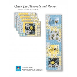 Queen Bee Placemats & Table Runner by Poorhouse Quilt Designs -Pattern will be available in May