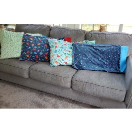 Rainbow Dino pillow cases made by Lindsay Chieco- Inspiration ONLY