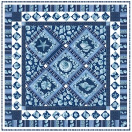 """Sailor's Valentine Blue Quilt by Marsha Moore /55.5""""x55.5"""""""