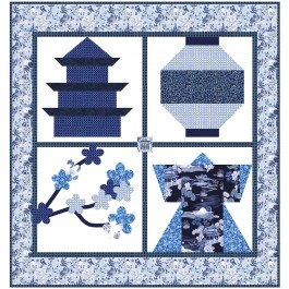 """Snapshots of Japan Blue Quilt by Natalie Crabtree /53""""x56"""""""