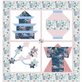 """Snapshots of Japan Pink Quilt by Natalie Crabtree /53""""x56"""""""