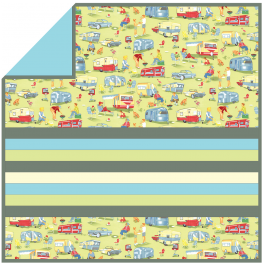"Trailer Travel - MINKY Strip Quilt /58""x58"""