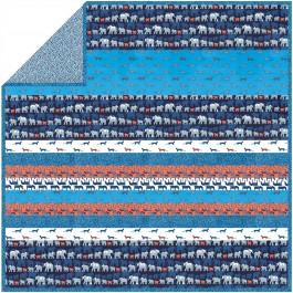 """Trekking Orange Azure - Minky Strip Quilt /58x58"""""""