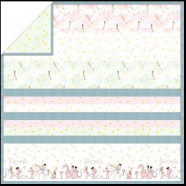 "White Magical Parade - Strip Quilt / 58""x58"""