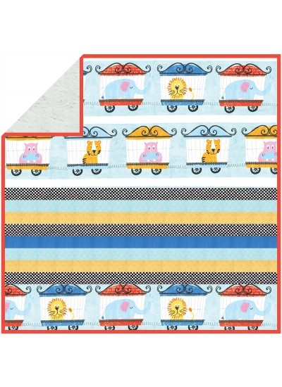 Animal Parade - MINKY Strip Quilt /58x58""
