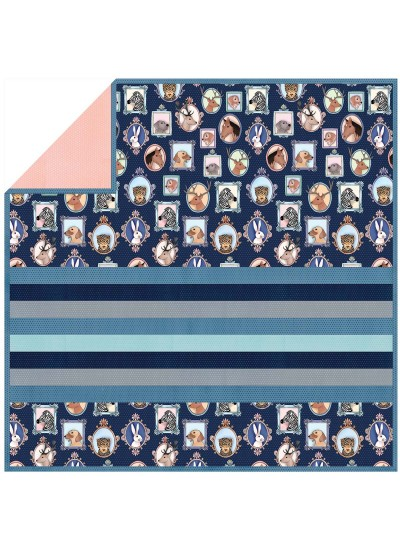 "Animal Portraits  - MINKY Strip Quilt 58""x58"""