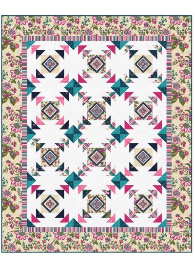 "Provencial April in Paris Cream Quilt by Heidi Pridemore /57.5""x71.5"""