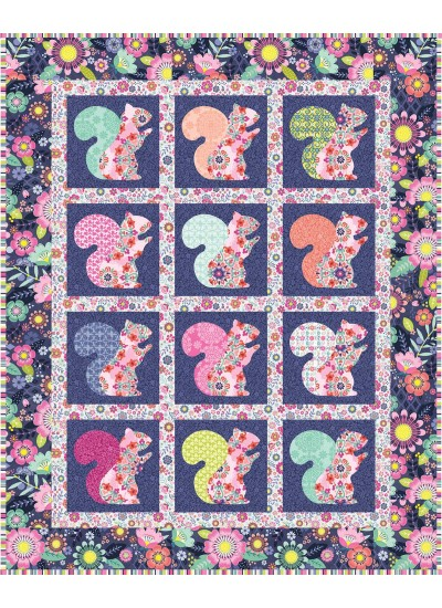 "Beau the Squirrel Quilt  by everyday stitches / 41""x51"""
