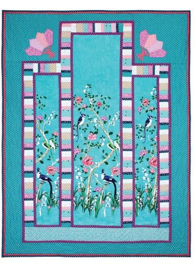 "Chinoiserie Border Quilt by Marinda Stewart /41""x56"""