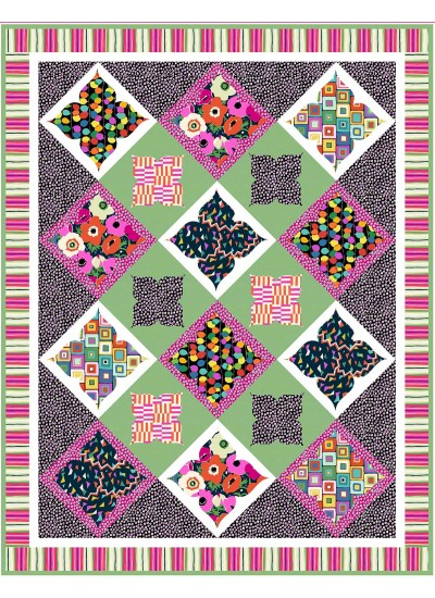 "City Garden Brite Quilt by Natalie Crabtree /58""x75"""