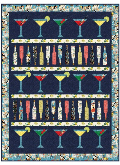 "Cocktail Hour Quilt Natalie Crabtree /59""x79"""