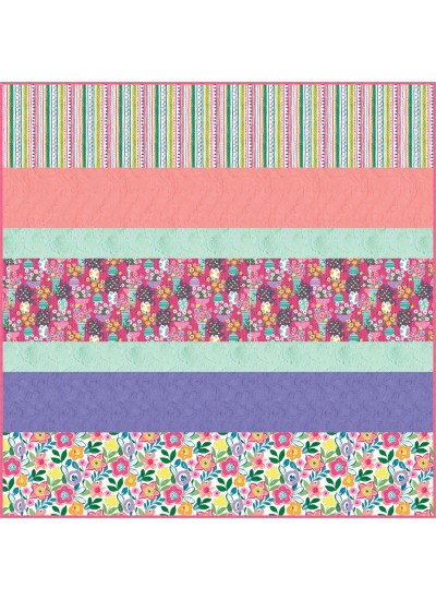 Colorful Cottage MINKY Strip Quilt- free pattern available in September