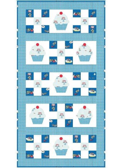 "Cupcake Cutie Runner in Blue by Stephanie Sheridan /22""x42"""