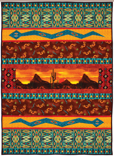 "Desert Night Sunset Quilt by Marinda Stewart / 40""x57.5"""