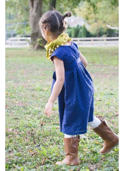 Eyelet Kids Dress - Midnite