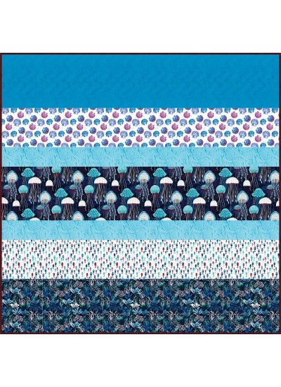 Fanciful Sea Life MINKY Strip Quilt