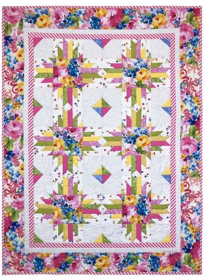 "Fantasy Bloom Spring Quilt by Marinda Stewart /40""x54"""