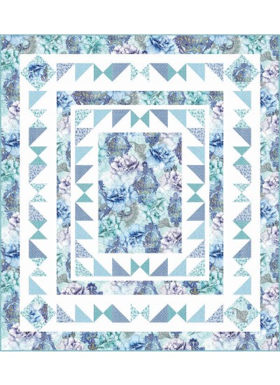 Flower Burst Quilt - Blue by Heidi Pridemore