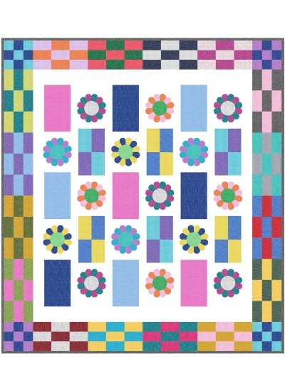 "Flower Power Quilt by natalie Crabtree /57""x64"""