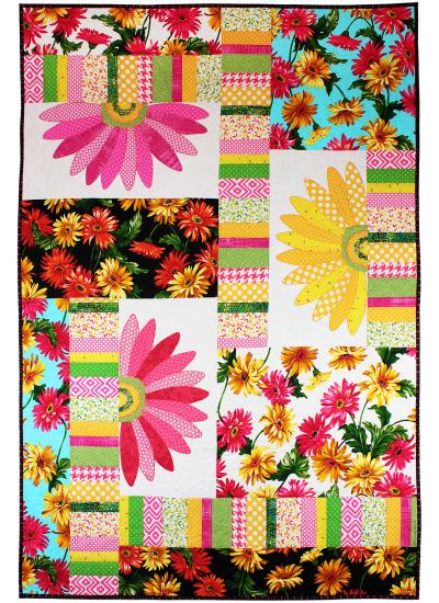 Gerbera Garden  Quilt by Marinda Stewart