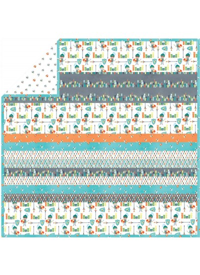 Good Knight Retro - Minky Strip Quilt /58x58""