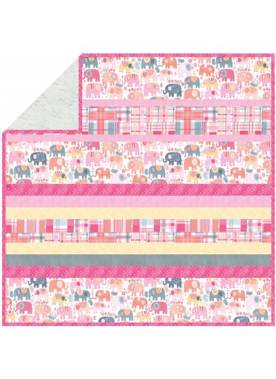 "Happy Elephants Pink - Minky Strip Quilt    /58""x58"""
