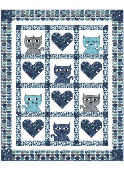 Hipster Kitties - Blue Quilt by Heidi Pridemore /46x57""