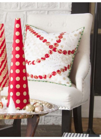 Cranberry Garland Pillow - Holiday Glitz