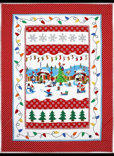 "Holly Jolly Gnomes Quilt by Marinda Stewart / 41x56"""