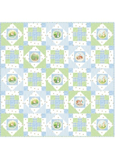 "Hop Along - Blue Quilt by Susan Emory /50""x50"""