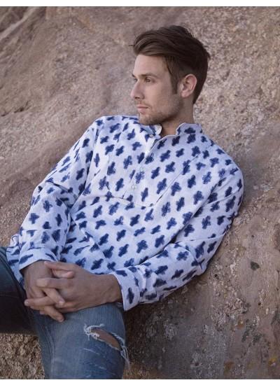 Indigo - Men's Collarless Shirt