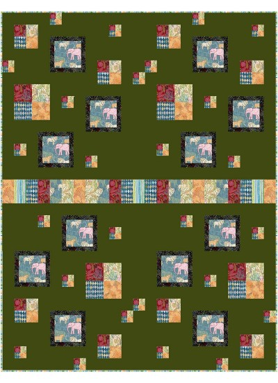 "Row House Jungle Vibes Quilt by Kate Colleran 46""x60"""