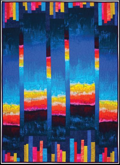 """Koi Pond Garden Sunset Quilt by Marinda Stewart /40""""x55"""""""