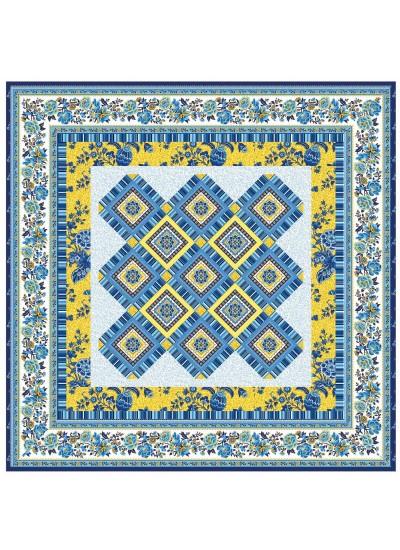 """Provencial La Fleur Tiles Fuzzy Cut Border Blue Quilt by Diane Nagle /48""""x48"""""""