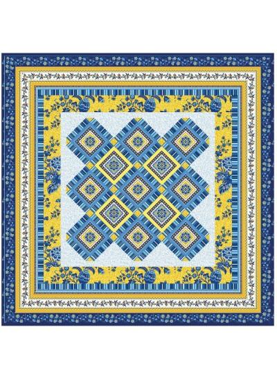 """Provencial La Fleur Tiles Blue Quilt by Diane Nagle /48""""x48"""""""