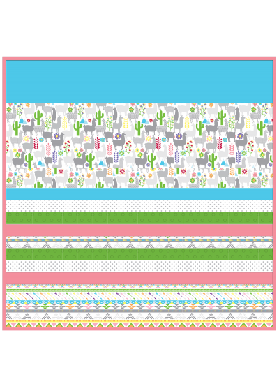 "Llamas -MINKY Strip Quilt /58x58"""