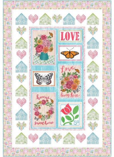 "Stamp Collection Quilt by Natalie Crabtree 45""x65"" - pattern available in January"