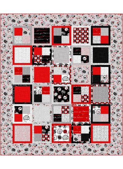"""Four Patch Quilt by Swirly Girls Design /62""""x72"""" (fat Quarter Friendly)"""