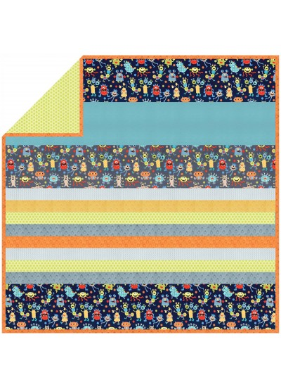 Monster Mash - MINKY Strip Quilt /58x58""