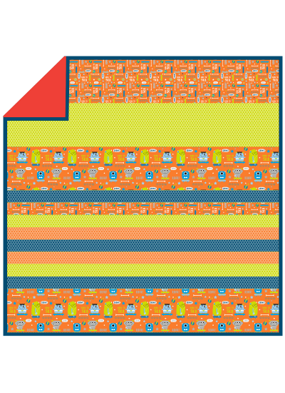 Monsters Orange -MINKY Strip Quilt /58x58""