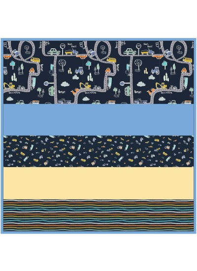 On the Road - Navy - Minky Strip Quilt /58x58""