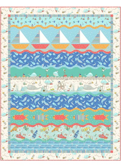 "On the Waves Quilt by Marsha Evans Moore 50""x68"" - pattern available in may"