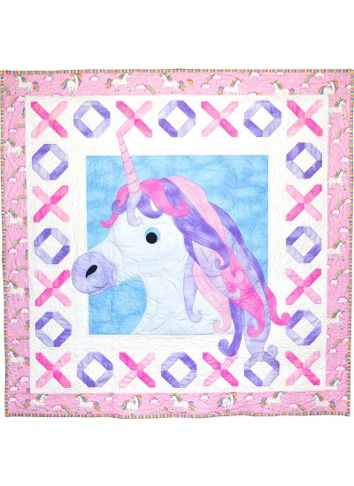 "Unicorn Kisses Quilt by Heidi Pridemore /58""x58"""
