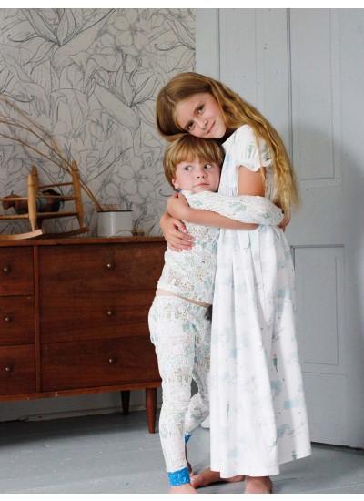 Girl Shortsleeve Nightgown and Boy Pajamas