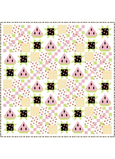 """summer watermelon quilt by natalie crabtree 75""""x75"""" -pattern available in may, 2021"""