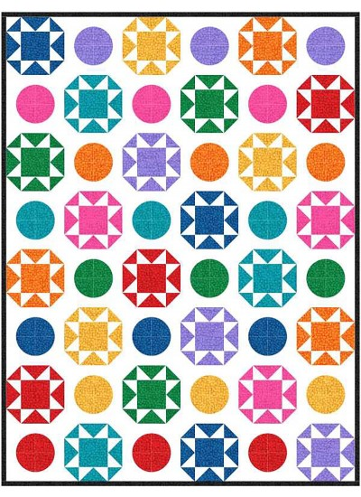 "Polka Party Hashdot Quilt by Charisma Horton /74""x86"""