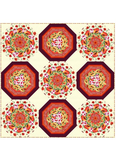 "Pots of Posies Quilt by Christine Stainbrook /90""x90"""