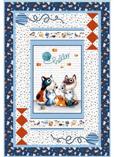 """Purrfectly Precious Quilt by Natalie Crabtree /43""""x63"""" - Instructions Coming Soon"""